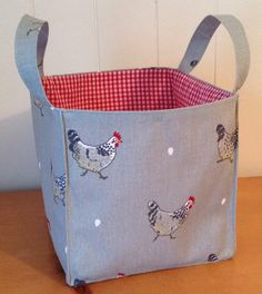 Sophie Allport fabric  Chickens  Storage tub  NEW