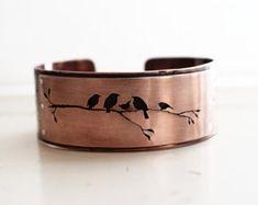 Copper bird cuff bracelet, handmade nature silhouette cuff, hand pierced.