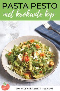 Pasta pesto met krokante kip - klaar in 20 minuten - Lekker en Simpel pastadinnerrecipes Healthy Pesto, Healthy Pasta Recipes, Vegetarian Recipes, Vegetarian Breakfast, Healthy Dishes, Healthy Meals, Vegan Vegetarian, Pasta Al Pesto, Clean Eating Snacks