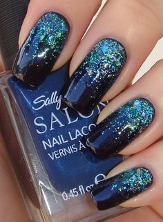 blue prom nails