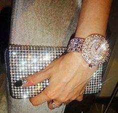 Diamond watch and shinning ladies hand bag inspiration | Fashion World