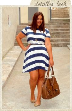 Navy Dress by Asos Strips & Curves #LookbookForAll http://vistetequevienencurvas.blogspot.com.es/2013/09/navy-dress-by-asos.html Plus Size Curves Curvy Talla Grande Blogger Plus Size