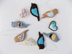 Felt Bird and Heart Garland Bunting Wall by sewwhimsycreations