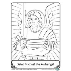 St Michael Coloring Page Sketch Coloring Page Angel Coloring Pages, Colouring Pages, Coloring Books, Free Coloring, Religion Activities, Bible Activities, Michaels Kids Crafts, Religious Art, Religious Education