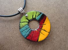 Torch Fired Enamel Pendant  Colorful Large by masonmetaldesigns, $45.00
