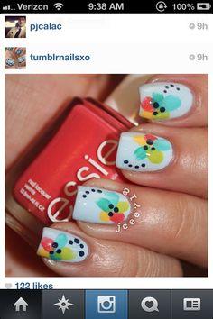 bright fun flower Nails