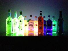 Black light glowing bottles