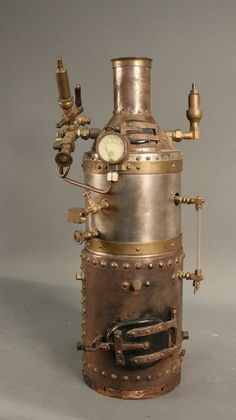 A fine large scale demonstration model of a fire-tube vertical boiler and one cylinder vertical engine, non reversing. on Nov 2014 Steampunk Bedroom, Steampunk Furniture, Steampunk Design, Steampunk Diy, Moonshine Still Plans, Copper Still, Steam Boiler, Design Social, Boston Harbor