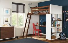 Organized shelf and a desk underneath the loft bed. Great for kid's room.