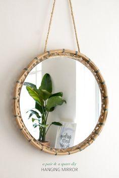 DIY: hanging mirror - Home Decoration and Diy Diy Para A Casa, Diy Casa, Diy Interior, Diy Home Crafts, Diy Home Decor, Do It Yourself Regal, Home Decor Baskets, Diy Mirror, Rope Mirror