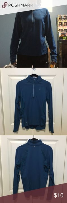 NikeFit Quarter Zip very lightweight and comfortable, somewhat loose fit. perfect for workouts or just casual wear! the material is very breathable and cooling! size small but fits xsmall well too. Nike Tops Sweatshirts & Hoodies