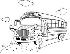Vector: School Bus coloring page
