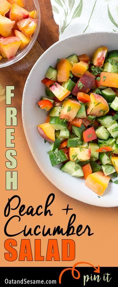 This easy Peach + Cucumber Salad incorporates all the wonderful produce from your local farmer's market! Fresh cucumbers, red peppers, peaches and fresh herbs! Summer flavors that speak for themselves without any fuss. | #GLUTEN FREE | #VEGETARIAN | #VEGAN | #PEACHES | #SALAD | #HEALTHY | #Recipes at OatandSesame.com