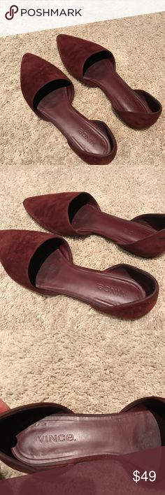 Authentic Vince Nina Flat in Burgundy This is the perfect time of year for a pop of burgundy. These Nina flats are timeless but edgy and cool. I'm an 8 and they fit perfectly. Vince Shoes Flats & Loafers