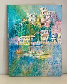 Nautical Oil Painting Vintage Fine Art Pastel Sailboat Port | Etsy Mid Century Art, Pastel Blue, Jewel Tones, Vintage Colors, Sailboat, Impressionist, Nautical, Art Photography, Original Art