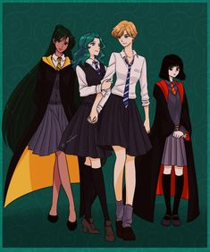 Sailor Moon/Harry Potter crossover: outer senshi as Hogwarts students | Cute, but I see Haruka as much more of a Gryffindor and Hotaru as a Ravenclaw. (I definitely see Michiru as a Ravenclaw, and Hufflepuff probably is good for Setsuna...)