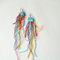 Extra long jellyfisch earrings pulpo earrings octopus by nepinka, $30.00