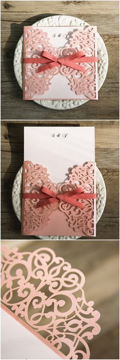 romantic shades of pink and peach laser cut wedding invitations @elegantwinvites