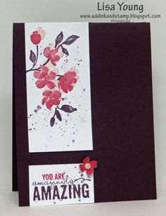 Stamps: Painted Petals, Gorgeous Grunge Card Stock: Blackberry Bliss, Whisper White, Rose Red Ink: Blackberry Bliss, Rose Red, Blushing Bride Other: Candy Dot, Itty Bitty Accent punch