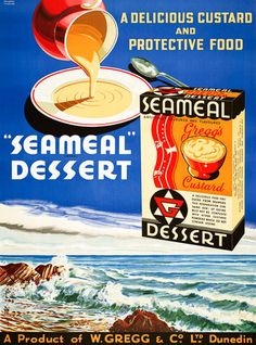 Seameal Dessert: A Delicious Food Produced from Seaweed. Vintage advertisement. 1940s. #vintage #advertisement #newzealand