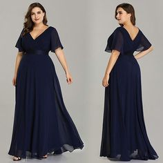 Plus Size Evening Dresses Ever Pretty V-neck Nay Blue Elegant A-line Chiffon Long Party Gowns 2019 Short Sleeve Occasion Dresses Prom Dresses Long Pink, Bridesmaid Dresses Plus Size, Formal Dresses For Women, Elegant Dresses, Bridesmaid Gowns, Beach Dresses, Homecoming Dresses, Bridesmaids, Evening Dress Long