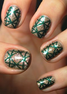 Green and Silver Glitter #beauty #nails