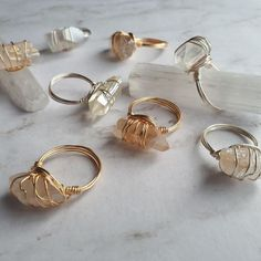 Have you seen the new available size ? Wire Jewelry Rings, Wire Jewelry Designs, Handmade Wire Jewelry, Cute Jewelry, Wire Wrapped Jewelry, Beaded Jewelry, Jewelery, Raw Crystal Jewelry, Handmade Rings