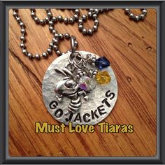 Hand stamped GA TECH necklace Go Jackets Georgia by MustLoveTiaras, $22.00