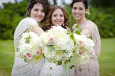 Blush and Ivory Bride and Bridesmaids. Organic and Sustainable Flowers by Carol Mann at Brambles and Bittersweet Wedding Flowers