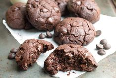 Chocolate Brownie Cookies - Erren's Kitchen - the perfect balance between a crisp cookie and a fudgy brownie.