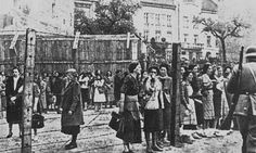 The Lwów Ghetto, Spring 1942. Jewish women behind the barbwire fence