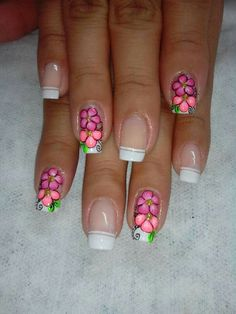 Siete Nail Art Designs, Fingernail Designs, Flower Nail Designs, Perfect Nails, Gorgeous Nails, Love Nails, Pretty Nails, French Manicure Gel Nails, Fingernails Painted