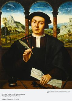 Portrait of a Man, c.1510–20, Quentin Massys; the man holds a rosebud, symbol of love, as well as the transient of beauty and life; later addition include the cross and halo, symbols of Christianity and sanctity. (National Galleries Scotland)