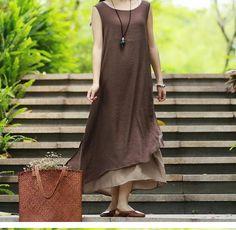 3 color cotton dress sundress summer dress linen by customsize, $58.00