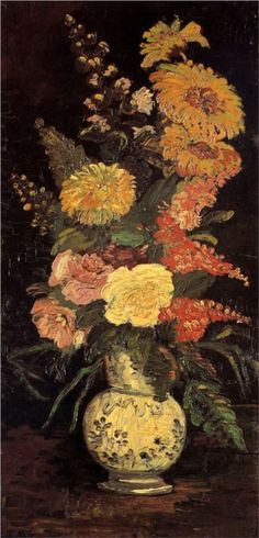 """""""Vase with Asters, Salvia and Other Flowers"""".Vincent van Gogh Painting, Oil on Canvas Paris: Summer, 1886 Vincent Van Gogh, Art Van, Monet, Flores Van Gogh, Van Gogh Flowers, Van Gogh Arte, Van Gogh Pinturas, Christmas Paintings On Canvas, Easy Canvas Painting"""