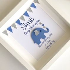 New baby frame ~ new baby gift ~ personalised baby gift ~ elephant frame ~ christening gift ~ nursery art ~ baby boy gift ~ nursery decor This beautiful elephant nursery art frame is the perfect gift for a new baby boy! It is personalised and features a blue elephant with gorgeous glitter