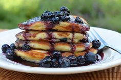 Blueberry Buttermilk Pancakes with Blueberry Maple Syrup - Once Upon a Chef