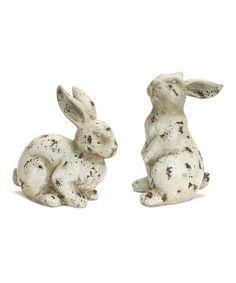 Loving this Terra-Cotta Bunny Figurine Set on #zulily! #zulilyfinds
