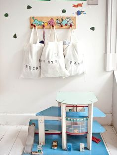 12 Clever Toy Storage and Organization Hacks: Canvas Shopping Bags Kids Storage, Toy Storage, Storage Ideas, Clothes Storage, Storage Hacks, Diy Rangement, Deco Kids, Playroom Organization, Organization Hacks
