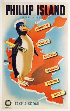"The caption reads: ""Phillip Island - Victoria Australia - Shooting - Camping - Surfing - Fishing - Tennis - Golf - Take a Kodak"". Party Vintage, Vintage Retro, Vintage Style, Vintage Fashion, Posters Australia, Australian Vintage, Phillips Island, Tourism Poster, Victoria Australia"