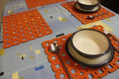 Placemats and Coasters a Circle Round  Designs Felt by FeelMyCraft