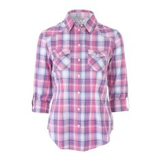 Womens Pink Roll Up Check Shirt (€15) ❤ liked on Polyvore featuring tops, checked shirt, shirt top, checkered shirt, sleeve shirt and purple checkered shirt