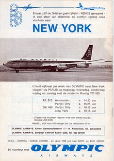 Olympic airways Greece National Airlines, Vintage Airline, Flight Attendant, Olympics, New York, Classic, Movie Posters, New York City, Film Poster