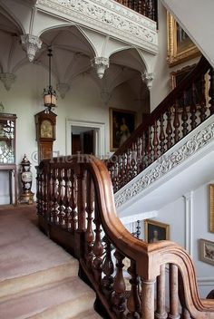 """Birr Castle ~ The century staircase, made of yew wood, was spoken of as """"the fairest staircase in Ireland"""" by the English topographer Thomas Dineley Wood Staircase, Grand Staircase, Staircase Design, Beautiful Interiors, Beautiful Homes, Beautiful Stairs, Mansion Homes, Palaces, Victorian Homes"""