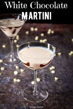 This white chocolate martini recipe is fun, potent and delicious. It's decadent without being over the top and is a perfect holiday sipping cocktail. #dishesdelish #whitechocolate #martini #chocolatemartini