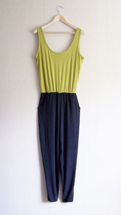Jersey jumpsuit with low back in chartreuse and charcoal www.zoeyarwood.co.uk