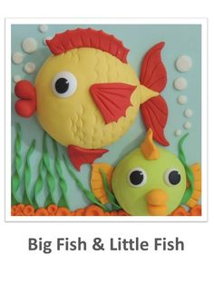 Big Fish & Little Fish Cakes PDF Tutorial by ShereensCakesandBake Cake Topper Tutorial, Fondant Tutorial, Fondant Cake Toppers, Fondant Cakes, Cupcake Toppers, Clay Projects, Clay Crafts, Tank Cake, Clay Fish