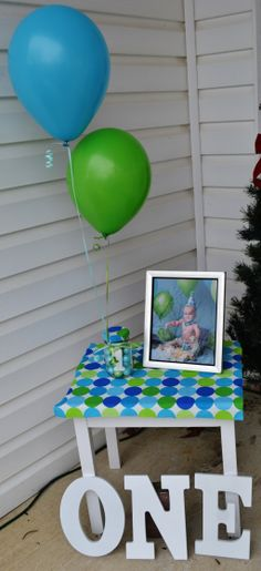 First Birthday blue and green