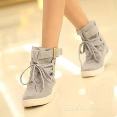 oncise Comfortable High-Top Lace-Up Women Shoes With Buckle