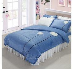 Blue Dandelion Floral Girls Ruffle Velvet Bedding